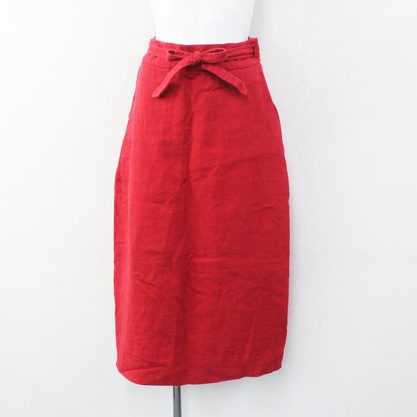 YAECA ヤエカ 14721 リネン ラップ風 スカート S/レッド【2400012278639】
