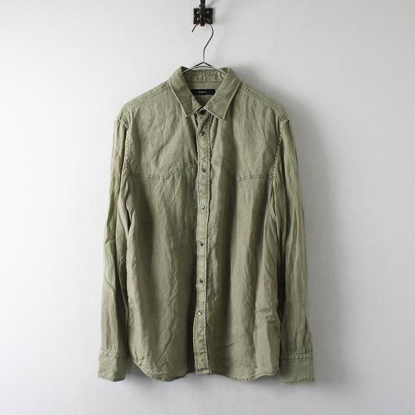 メンズ DIESEL ディーゼル リネン ロングスリーブシャツ S/グリーン トップス【2400012285873】