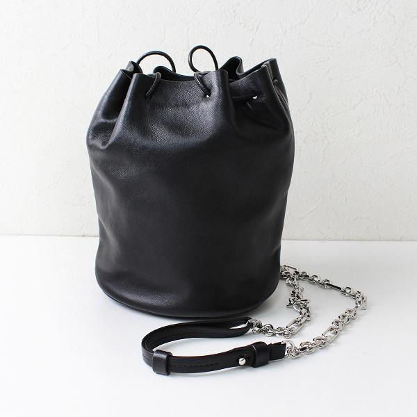 2020年 Maison Margiela メゾンマルジェラ S56WG0113 Tabi バケットバッグ/ブラック 巾着 レザー チェーン【2400012287938】