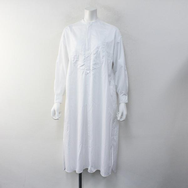 2020SS Drawer ドゥロワー コットンノーカラーホワイトシャツドレス36/ホワイト バンドカラーワンピース 長袖【2400012289437】