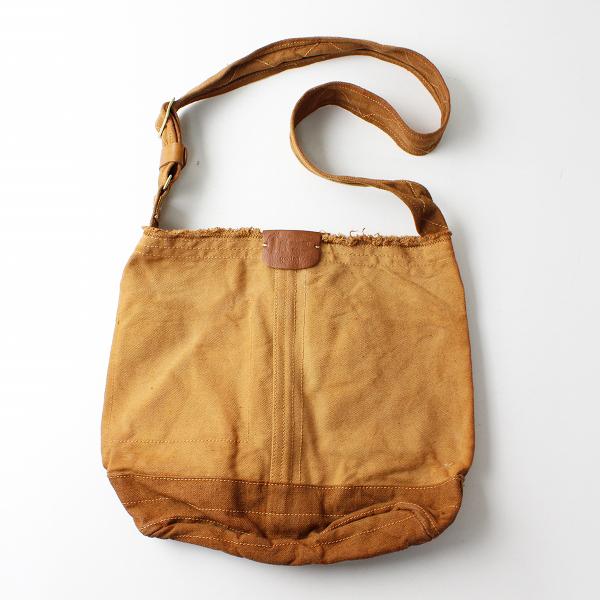 genten ゲンテン キャンバス ショルダーバッグ/ブラウン 鞄【2400012303171】