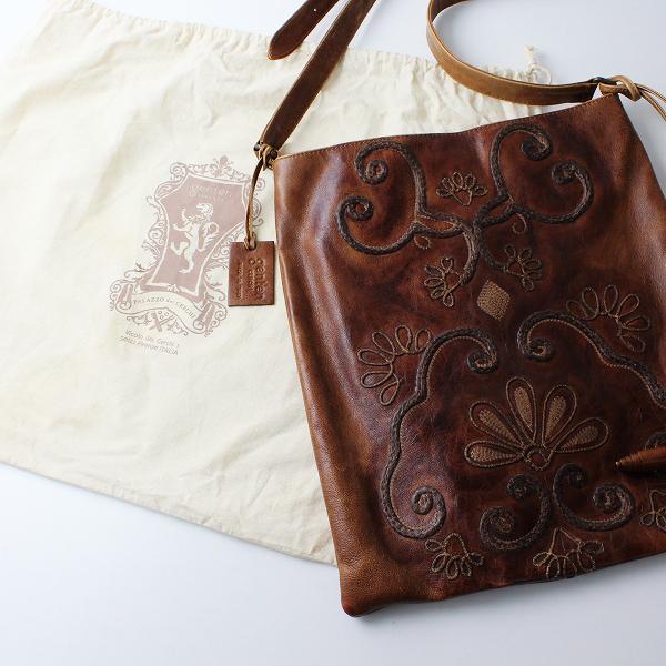 genten CERCHI ゲンテンチェルキ レザー 刺繍 ショルダーバッグ/ブラウン 鞄【2400012303188】