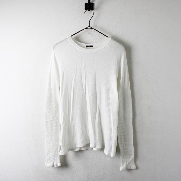 R&D.M.Co- オールドマンズテーラー コットンガーゼ長袖Tシャツ F/ホワイト 白 トップス カットソー 薄手ニット【2400012303560】