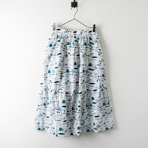 未使用品 Emago イマゴ マリンプリント コットン イージー ギャザースカート F/ホワイト 魚【2400012307742】
