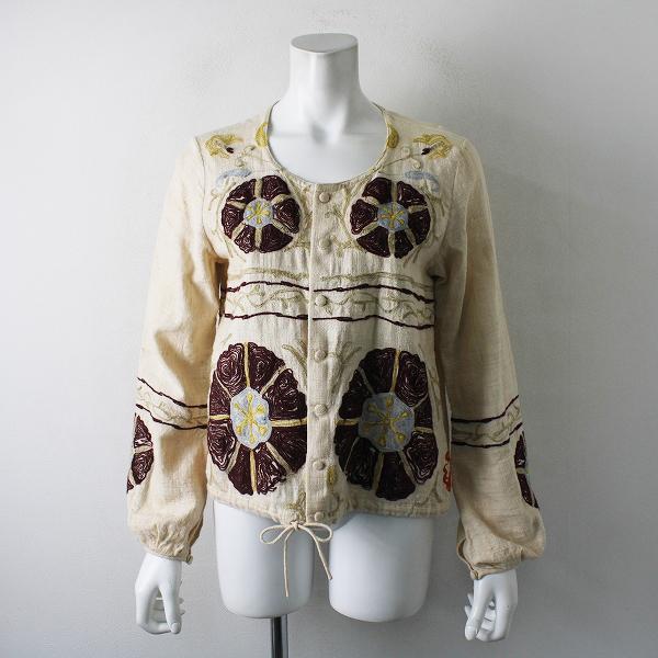 希少 45rpm フォーティーファイブアールピーエム フラワー模様 刺繍 コットン羽織りジャケット2/ライトベージュ【2400012308213】