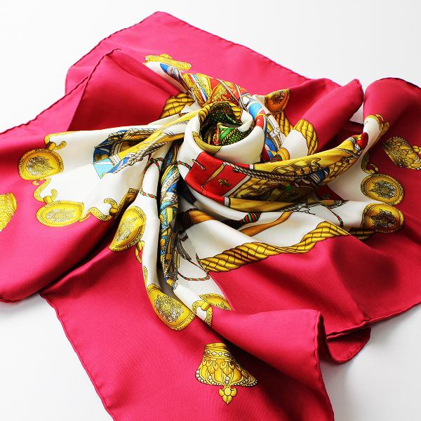 HERMES エルメス カレ90 LES TAMBOURS タンブールの太鼓 大判スカーフ/レッド ショール【2400012309296】