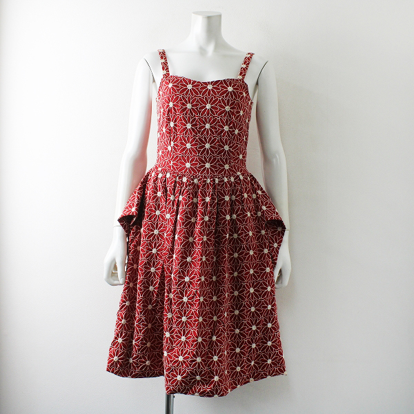 Jane Marple ジェーンマープル フラワー刺繍 キャミソールワンピース M/レッド 赤 アカ ドレス 春夏【2400012311787】