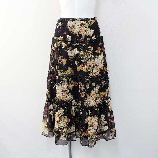 INGEBORG インゲボルグ ベロア使い ピコ 花柄 スカート F/ブラック【2400012312579】
