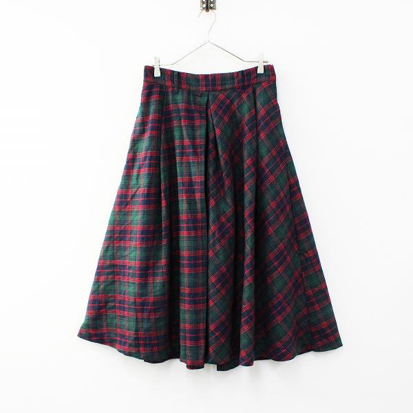 【期間限定30%OFF!】美品 大きいサイズ AS KNOW AS olaca アズノゥアズ オオラカ かしげたチェックのスカート F/ネイビー グリーン レッド【2400012317055】