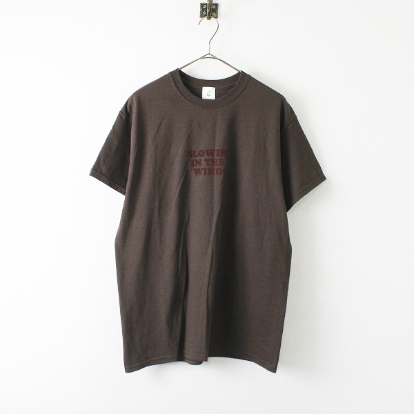 6(ROKU) BEAUTY&YOUTH UNITED ARROW BLOWIN IN THE WIND LOGO T-SHIRT TシャツM/ダークブラウン【2400012324169】