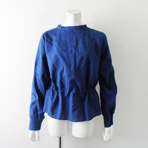 未使用 定価5.9万 2019SS 45R フォーティファイブアール 藍染めカディのブラウス 2/インディゴ ブルー 45rpm フリル【2400012324220】
