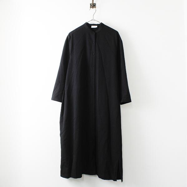 2020AW yuni アンビデックス ユニ ウール バンドカラー シャツワンピース F/ブラック【2400012324404】