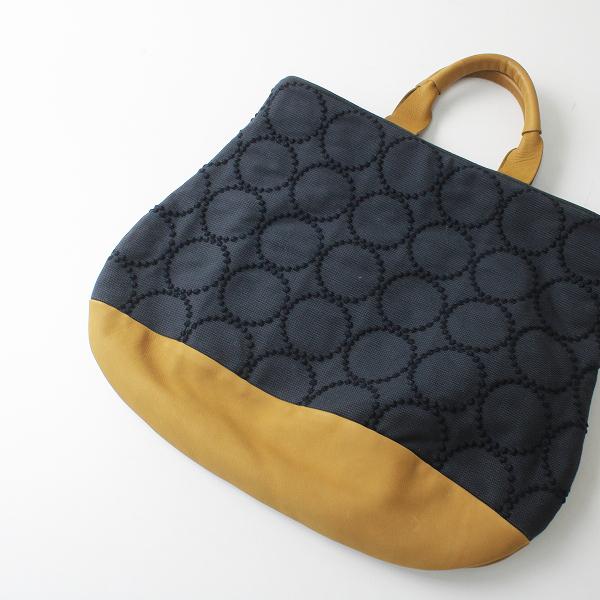 2020SS mina perhonen ミナペルホネン ys9693 tambourine marron bag マロンバッグ/ネイビー 刺繍 キャメル【2400012326743】