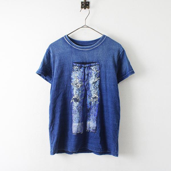 KAPITAL KOUNTRY キャピタルカントリー インディゴ染 フロッキー Tシャツ S/ブルー トップス【2400012327849】