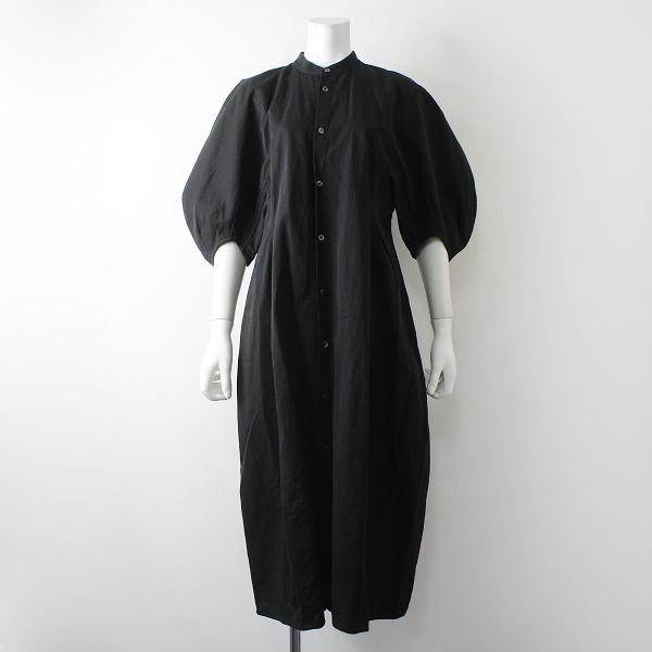 美品 R&D.M.Co- オールドマンズテーラー コットンリネンギャバジンバルーンスリーブドレス M/ブラック【2400012328280】