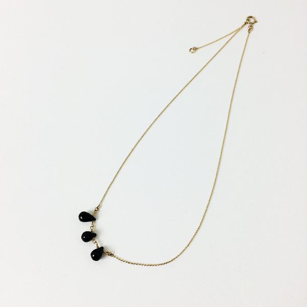 agete アガット ストーン ネックレス/ゴールド ブラック 小物【2400012331808】