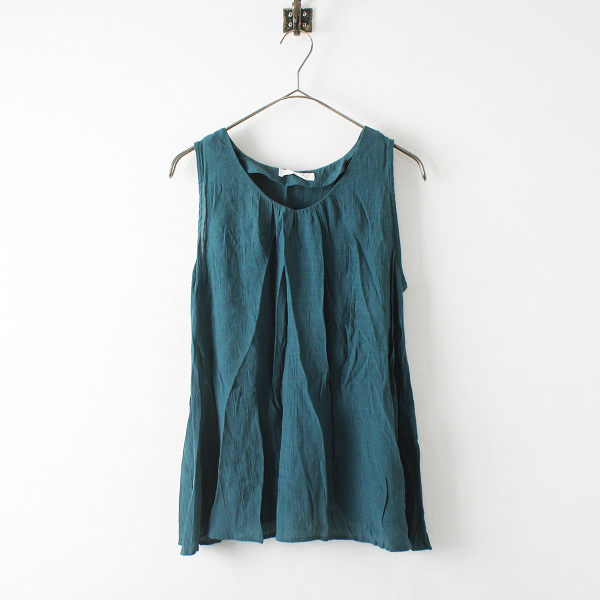 Samansa Mos2 SM2 blue サマンサモスモスブルー バックオープン ノースリーブブラウス M/グリーン トップス【2400012331938】