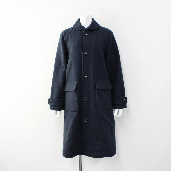 2018AW PAR ICI パーリッシィ 丸襟 ウール ステンカラーコート F/ネイビー【2400012334465】
