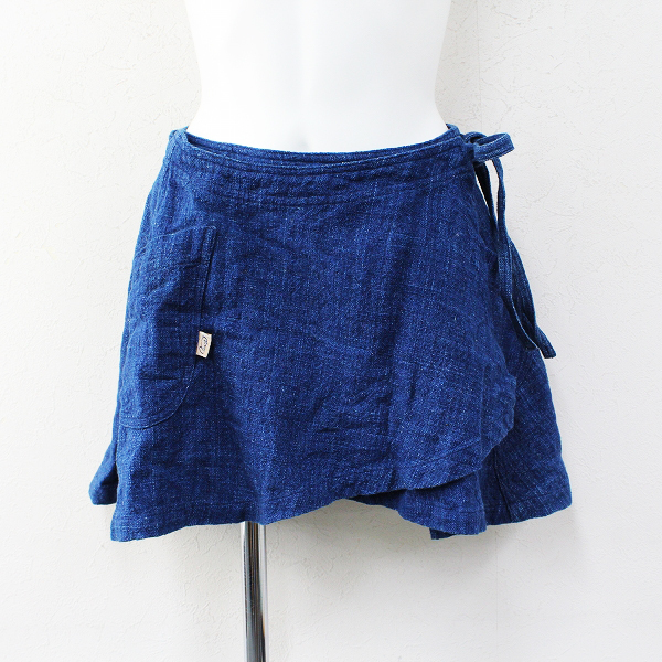 USAATO うさと 手織り インディゴ染め ポケット付巻きスカート/ネイビー ボトムス【2400012335608】