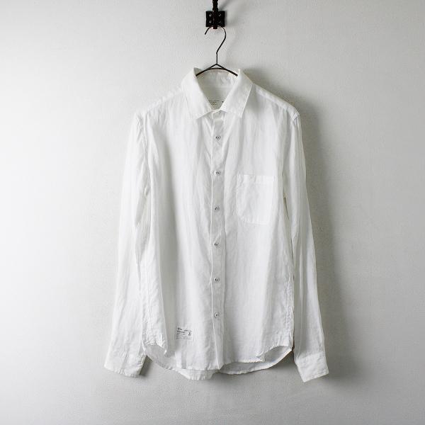 メンズ Vlas Blomme ヴラスブラム コルトレイクリネン 包ボタン 長袖レギュラーシャツ 1/ホワイト白 麻 トップス【2400012336520】