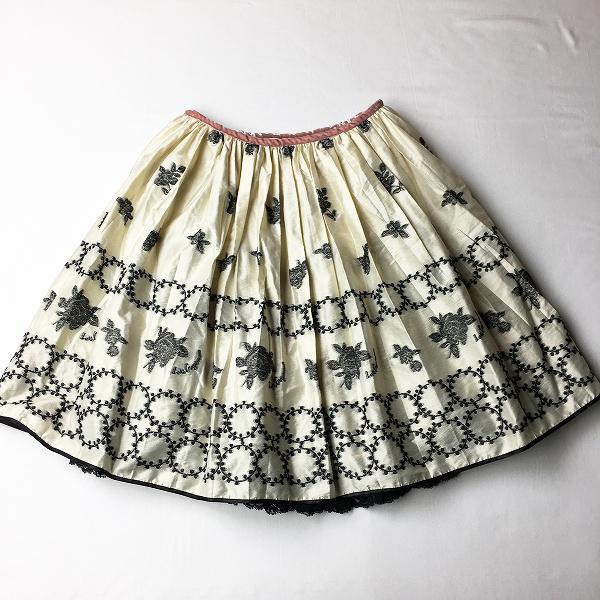 美品 Lois CRAYON ロイスクレヨン モノトーンサークルフラワージャガードスカート M/アイボリー ブラック 花柄 【2400012336889】