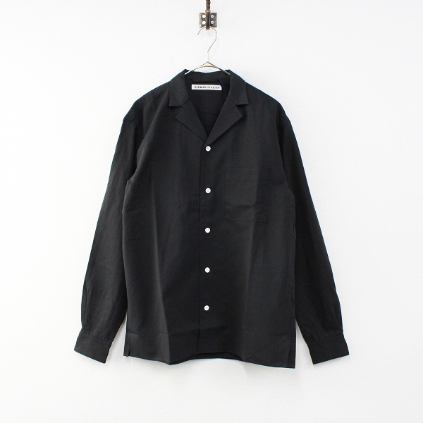 未使用 定価3万 R&D.M.Co- オールドマンズテーラー コットンリネン オープンカラーシャツ 40/ブラック メンズ【2400012338692】