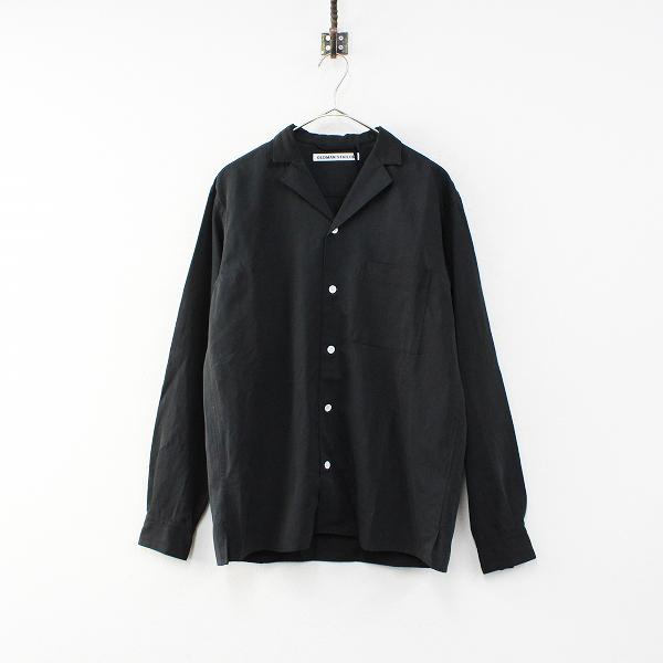定価3万 R&D.M.Co- オールドマンズテーラー コットンリネン オープンカラーシャツ 38/ブラック メンズ【2400012338708】