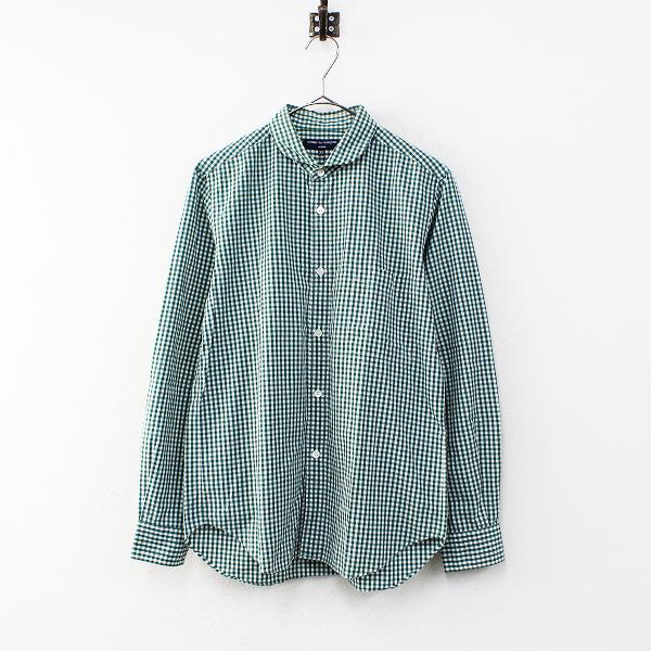 メンズ COMME des GARCONS HOMME コムデギャルソン オム コットン ギンガムチェックシャツ XS/グリーン トップス【2400012339187】