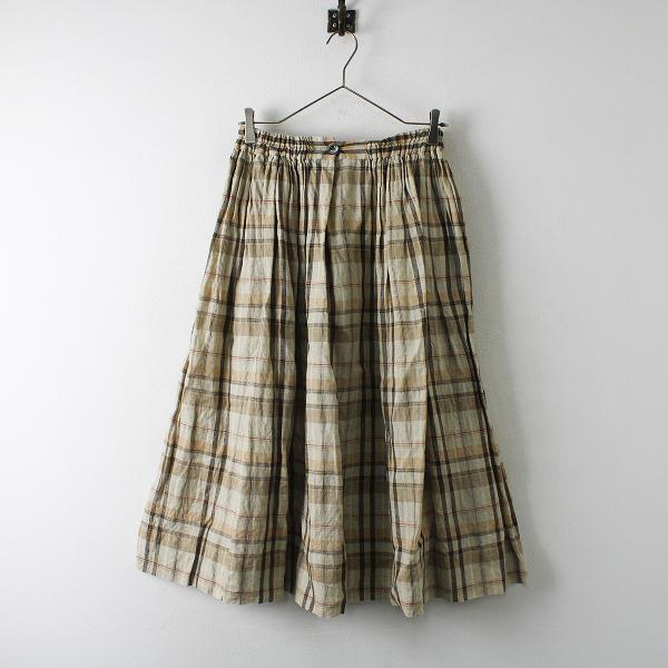 美品 2019SS Lisette リゼッタ チェック リネンギャザースカート F/ベージュ【2400012342347】