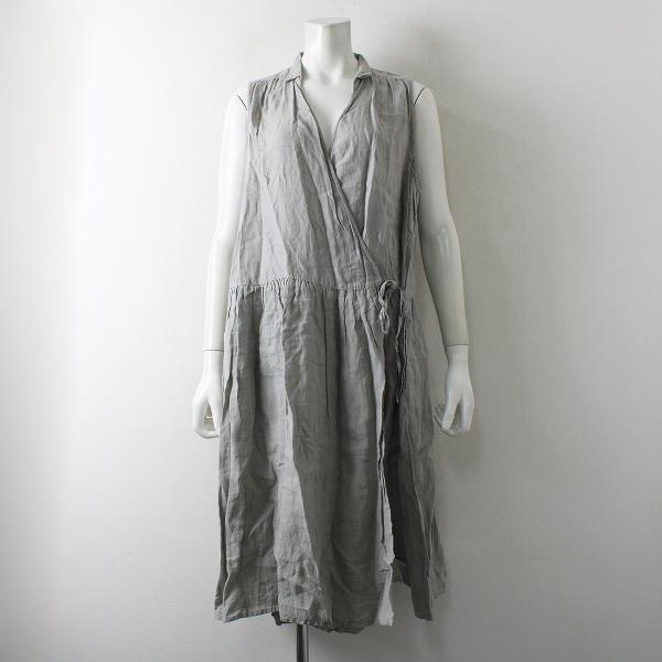 nest Robe ネストローブ リネン カシュクール ノースリーブワンピース/グレー【2400012342699】