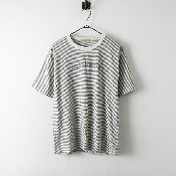 【期間限定60%OFF!】Samansa Mos2 SM2 サマンサモスモス コットン ボーダー ロゴプリントTシャツ F【2400012343153】