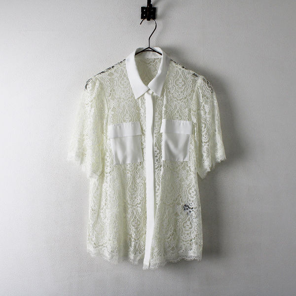 新品 未使用 Lois CRAYON ロイスクレヨン フラワー総レース胸ポケット付き半袖シャツ M/ホワイト白ブラウス【2400012349018】