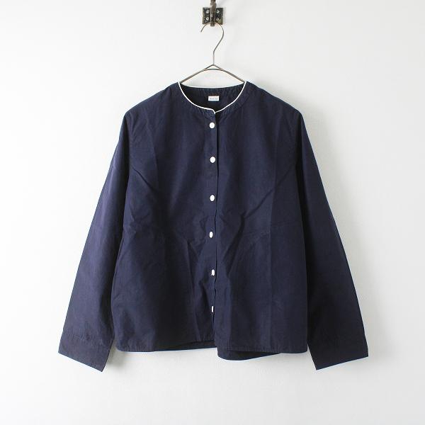 PAR ICI パーリッシィ コットン リネン ノーカラーシャツ F/ネイビー トップス【2400012352131】