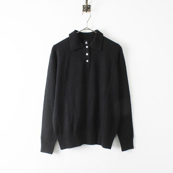 merlot メルロー ニット ポロシャツ/ブラック トップス【2400012352148】