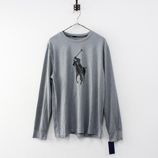 未使用 POLO RALPH LAUREN ポロ ラルフローレン ポニーフロッキープリント ロングスリーブTシャツ XL/グレー メンズ【2400012352308】