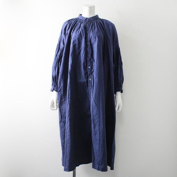 未使用品 2021SS 春夏 定価3.4万 nest Robe ネストローブ リサイクルリネンコットンスモックシャツドレス F/ブルー【2400012356658】
