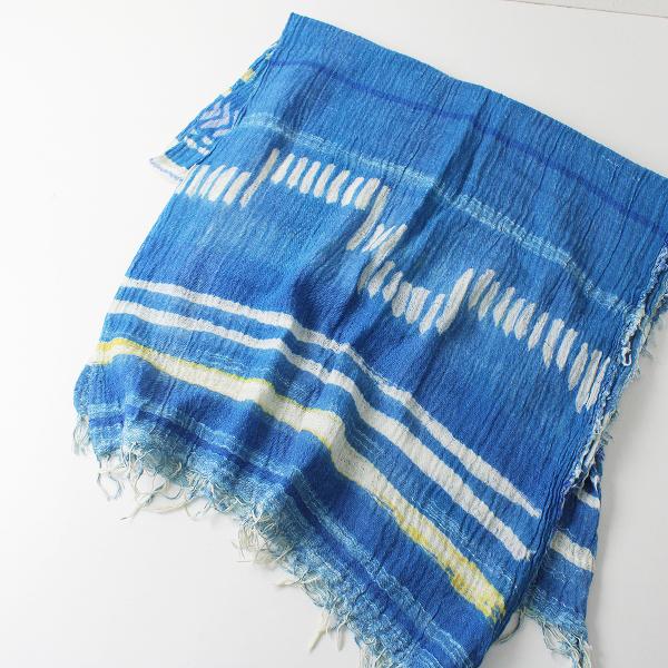 未使用品 tamaki niime 玉木新雌 タマキニイメ print shawl BIG コットン プリント ルーツショール ビッグ/ブルー【2400012362208】