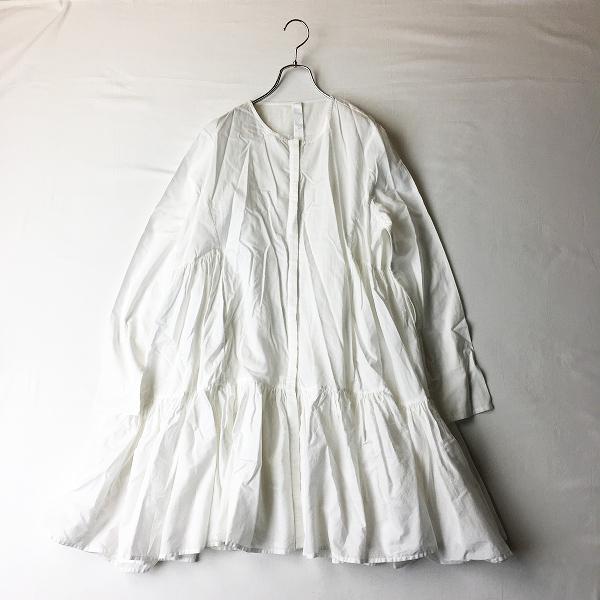 Merlette マーレット MARTEL マーテル コットン ギャザーティアードシャツワンピース XS/ホワイト白 Aライン ドレス【2400012366787】-.