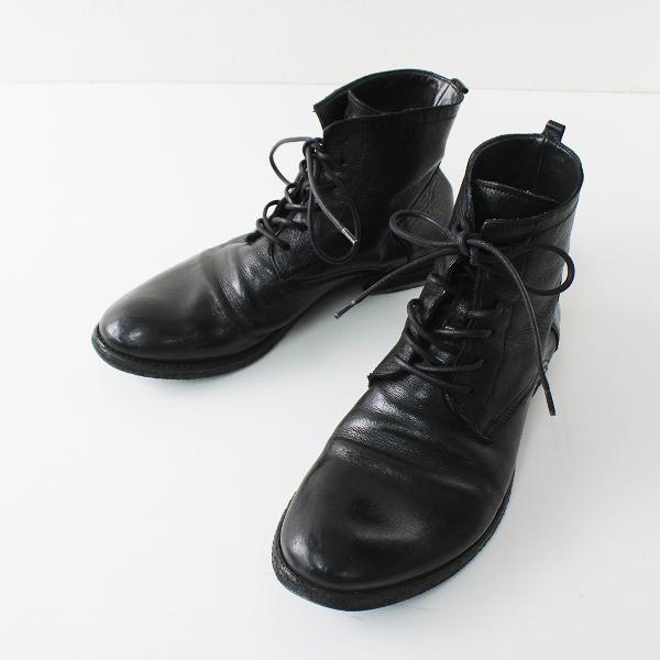 OFFICINE CREATIVE オフィチーネ クリエイティブ レザーレースアップショートブーツ 36/ブラック黒 イタリア製【2400012368538】