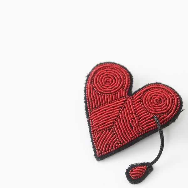 【期間限定50%OFF!】Macon&Lesquoy マコン&レスコア ハート 刺繍 ブローチ /ピンバッジ ピンバッヂ アクセサリー【2400012368682】
