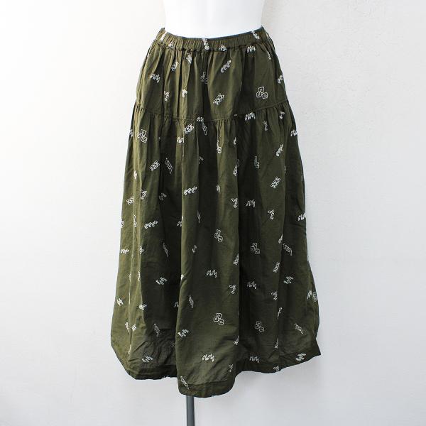 未使用 SUN VALLEY サンバレー 刺繍イージーロングスカート M/ボトムスカーキ【2400012370524】