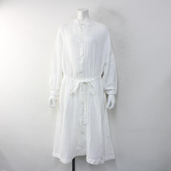 未使用品 s.t.closet frabjous エスティクローゼット フラビシャス コットン 前開きウエストリボンワンピース /ホワイト【2400012376533】