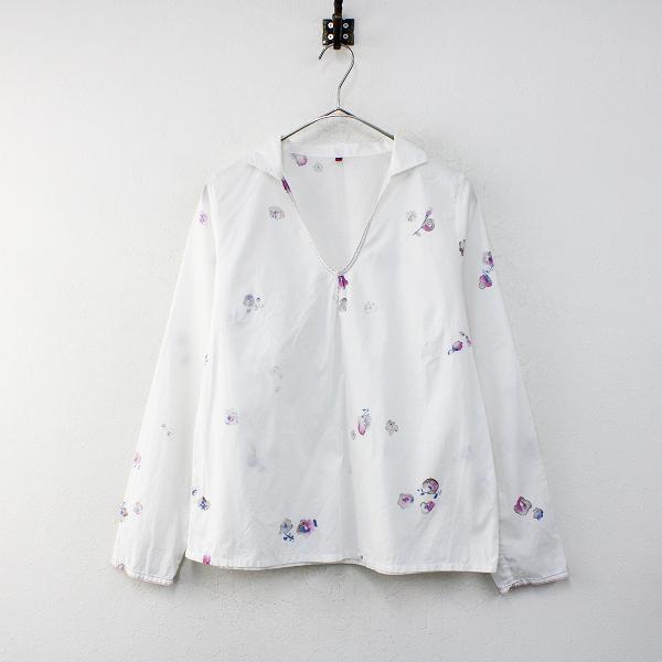 Pal'las Palace パラスパレス コットン フラワープリント プルオーバーシャツ 3/ホワイト トップス【2400012376977】