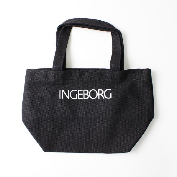 INGEBORG インゲボルグ ロゴ キャンバスミニトートバッグ/ブラック【2400012377394】