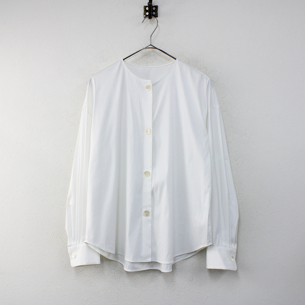 美品 2020SS TOMORROWLAND Collection トゥモローランド コレクション ストレッチブロード ノーカラーシャツ 36/ホワイト【2400012378001】