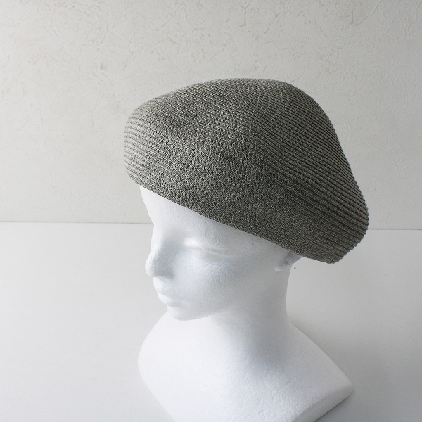 美品 override オーバーライド P.Braid Simple Beret ペーパーブレード シンプル ベレー帽 57.5cm/グレー 帽子【2400012379442】