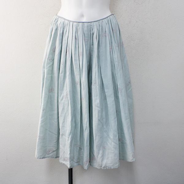 mina perhonen ミナペルホネン choucho 刺繍 フレアスカート 36/ライトブルー ボトムス【2400012379923】