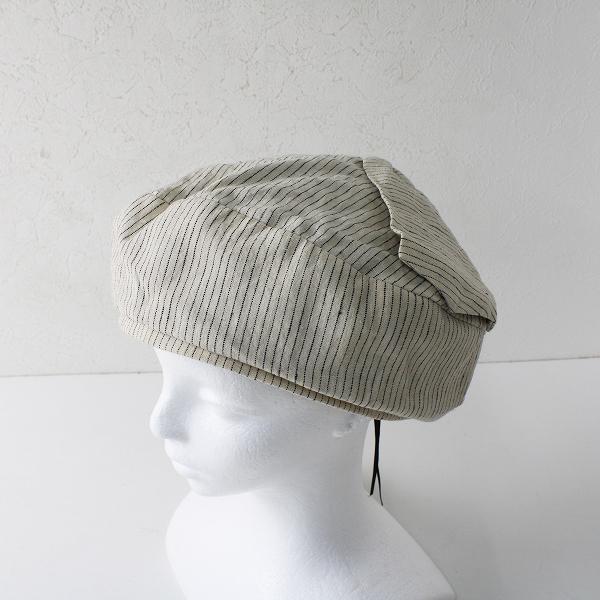 override オーバーライド リネン ストライプベレー帽 57.5/キナリ 小物【2400012382145】