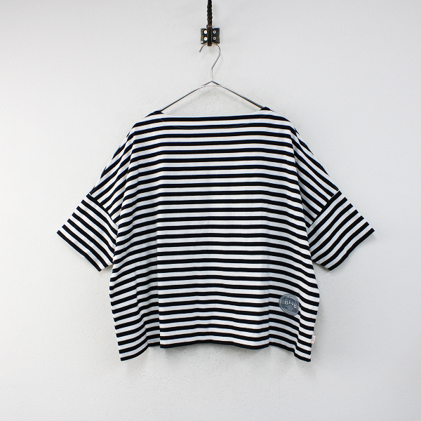 未使用 TraditionalWeatherwear トラディショナルウェザーウェア BMB SHIRTS LONG SHORT SLEEVE S/白黒 ボートネック【2400012383029】