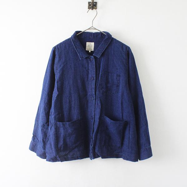 Samansa Mos2 SM2 サマンサモスモス ヘンプ綿インディゴ染めシャツジャケット F/ネイビー トップス【2400012386075】